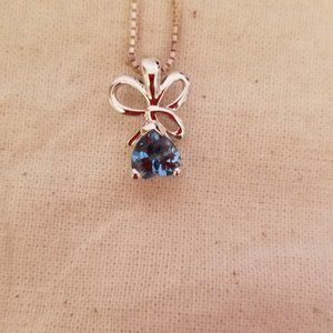 Blue Topaz Pendant with Sterling Silver Chain